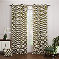 billige Gardiner ogdraperinger-To paneler Window Treatment Moderne , Mønstret Soverom Bomull Materiale gardiner gardiner Hjem Dekor