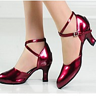 "billige Moderne sko-Dame Moderne Kunstlær Høye hæler Tykk hæl Burgunder Svart Rød Sølv Gull 2 ""- 2 3/4"""