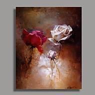Pintados à mão Floral/Botânico Vertical,Clássico Tradicional 1 Painel Pintura a Óleo For Decoração para casa