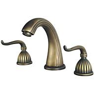 cheap Antique Brass Series-Antique Widespread Widespread Ceramic Valve Three Holes Two Handles Three Holes Antique Brass, Bathroom Sink Faucet
