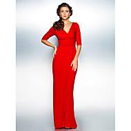 Tubinho Decote V Cauda Escova Microfibra Jersey Vestido Para Mãe dos Noivos - Cruzado Franzido de TS Couture®