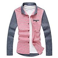 eenvoudige slanke buitenkant linnen contrasterende kleur shirt met lange mouw senleis®men\'s