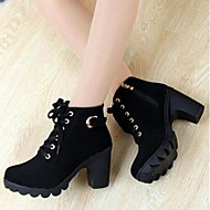 Women's Shoes Faux Suede Spring Fall Winter Chunky Heel Booties/Ankle Boots Buckle Zipper Lace-up For Casual Black Yellow Green