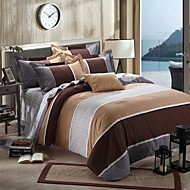 Stripe Duvet Cover Sets 4 Piece Cotton Contemporary Reactive Print Cotton Full Queen King 4pcs (1 Duvet Cover, 1 Flat Sheet, 2 Shams)