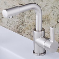 cheap Nickel Brushed Series-Contemporary Centerset Ceramic Valve Single Handle One Hole Nickel Brushed, Bathroom Sink Faucet