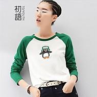 Vrouwen Eenvoudig Lente / Herfst / Winter T-shirt,Casual/Dagelijks Print Lange mouw Wit Katoen Medium