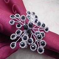 billige Bordduker-perler blomst serviett ring, akryl, 4,5 cm, sett med 12