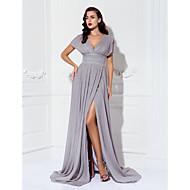 Bainha / coluna v-neck varredura / escova trem chiffon evening gala dress preto com ruching by ts couture®