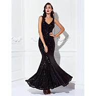 Sereia Decote V Longo Paetês Baile de Fim de Ano Festa de Gala Black-Tie Vestido com Lantejoulas de TS Couture®