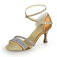 Dame Latin Glimtende Glitter Sateng Sandaler Krystall Utsvingende hæl Gyldenbrun Svart Sølv 7,5 cm Kan ikke spesialtilpasses