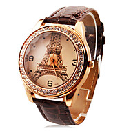 Personalized Fashionable Women's Watch Luxury Diamond Eiffel Tower PU Band