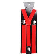 Men's Evening Causal Groom/Groomsman Red Solid Nylon Suspender