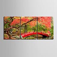e-home® lønn og broer klokke i canvas 3pcs