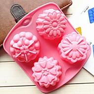 4 buraco molde geléia molde flores diferentes forma de bolo gelado de chocolate, silicone 15,5 × 14 × 3 cm (6,1 × 5,5 × 1,2 polegadas)