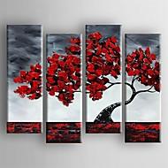 billiga Blom-/växtmålningar-Hang målad oljemålning HANDMÅLAD - Blommig / Botanisk Duk Fyra paneler