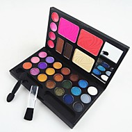 4in1 Makeup Cosmetic Palette with Mirror&Applicator Brush Set A(3 Blusher&2 Eyebrow Powder&4 Lip Gloss&21 EyeShadow)