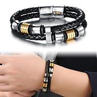 Pánské Kožené náramky Přizpůsobeno Luxus Jedinečný design Módní Vícevrstvé Kožené Titanová ocel Pozlacené Šperky Šperky Vánoční dárky