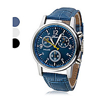 preiswerte -Herrn Armbanduhr Quartz Armbanduhren für den Alltag Leder PU Band Analog Freizeit Schwarz / Weiß / Blau - Weiß Schwarz Blau Ein Jahr Batterielebensdauer