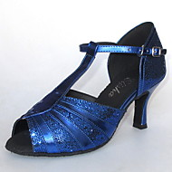 billige Sko til latindans-Dame Latin Salsa Ballett Glimtende Glitter Sandaler Kustomisert hæl Svart Sølv Blå Gull Kan spesialtilpasses