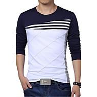 Veći konfekcijski brojevi Majica s rukavima Muškarci - Vojni Dnevno / Sport Pamuk / Poliester Jednobojni / Prugasti uzorak Slim