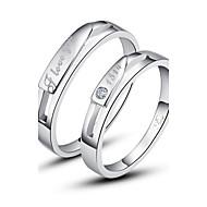 זול אביזרי גברים-זוגיות בהתאמה אישית 'כסף טבעת יהלום כסף אלגנטי בסגנון