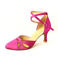 billige Kustomiserte dansesko-Dame Moderne sko / Ballett Sateng Høye hæler Rhinsten / Spenne Kan spesialtilpasses Dansesko Bronse / Rosa / Blå / Lær