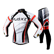 cheap -FJQXZ Men's Long Sleeve Cycling Jersey with Tights - White Bike Clothing Suit Breathable 3D Pad Quick Dry Ultraviolet Resistant Back Pocket Winter Sports Polyester Mesh Curve Mountain Bike MTB Road