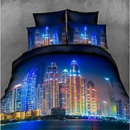 preiswerte Bettbezüge-Gemütlich Polyester Glatt Bedruckt 300 Tc 1 Stk. Betttuch 2 Stk. Kissenbezüge Bedruckt