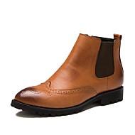 Bărbați Pantofi Piele Primăvară Toamnă Iarnă Confortabili Cizme Cizme/Cizme la Gleznă Pentru Casual Negru Roșu Maro
