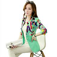 Women's All Seasons Blazer,Print Long Sleeve Pink / Gray / Green Polyester Medium