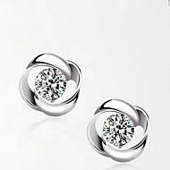 925 prata esterlina em forma de bola brincos estilo clássico feminino