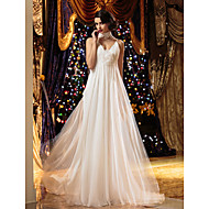 A-라인 V 넥 스윕 / 브러쉬 트레인 쉬폰 Made-To-Measure 웨딩 드레스 와 비즈 / 드레이핑 / 꽃패턴 으로 LAN TING BRIDE® / 아름다운 뒤태
