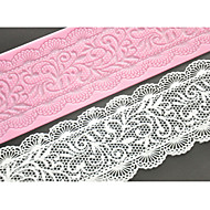 cheap Bakeware-FOUR-C Lace Cake Mold Silicone Lace Mat Decoration Pad for Cake Baking,Silicone Mat Fondant Cake Tools Color Pink