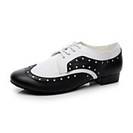billige Moderne sko-Herre Swingsko Lær Høye hæler Flat hæl Svart og Hvit 2,5 cm Kan ikke spesialtilpasses