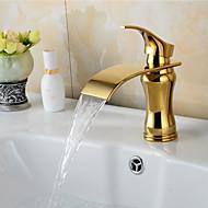 preiswerte -Moderne Art déco/Retro Modern Mittellage Wasserfall Keramisches Ventil Einhand Ein Loch Ti-PVD, Waschbecken Wasserhahn