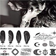 Personality Musical Instruments Moon Feather Tattoo Stickers Temporary Tattoos(1 pc)