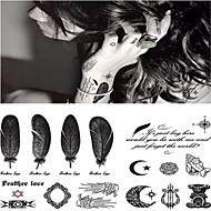 Altele Acțibilde de Tatuaj - Gri/Negru - Model - 14.5*9.5cm(5.71*3.74in) - Copil/Dame/Bărbați/Adult/Adolescent - Hârtie -