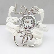 billige Quartz-Dame Quartz Armbåndsur Afslappet Ur PU Bånd Heart Shape Bohemisk Hvid