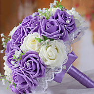 A Bouquet of 30 PE Simulation Roses Wedding Bouquet Wedding Bride Holding Flowers,Purple and White