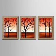 3手の油絵現代の抽象的な風景セットがストレッチフレームとの自然なリネンを描いた
