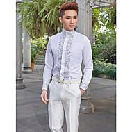 Mandarinski kratki rukavni pamuk / poliester uzorci bijele košulje za odijela