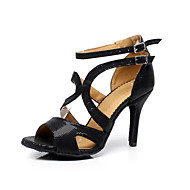 "Women's Latin Salsa Ballroom Leatherette Sandal Buckle Stiletto Heel 3"" - 3 3/4"" Customizable"