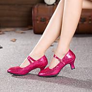 "cheap -Women's Modern Paillette Leatherette Heel Buckle Cuban Heel Black Red Blue Fuchsia 2"" - 2 3/4"" Non Customizable"