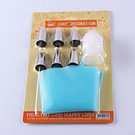 sett med 6 kake dekorere kit glasur bag tips baking verktøy lim mat bakverk rør 15 * 6 * 2 cm