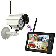 """billige Trådløst CCTV System-ny trådløs 4ch quad dvr 1-kameraer med 7 """"TFT-LCD monitor hjem sikkerhetssystem"""