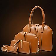 Kadın Çantalar PU 4 Adet Çanta Seti için Alışveriş Günlük Tüm Mevsimler Siyah Kahverengi Kırmzı