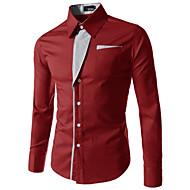 Masculino Camisa Social Casual Tamanhos Grandes Simples Primavera Outono,Sólido Algodão Poliéster Colarinho Clássico Manga Longa