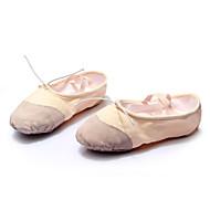 billige Kustomiserte dansesko-Dame Ballettsko Paljett / Lær / Lerret Flate / Sandaler Paljett / Snøring Flat hæl Kan spesialtilpasses Dansesko Hvit / Rød / Beige