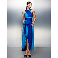 Linha A Decote V Assimétrico Microfibra Jersey Baile de Fim de Ano Evento Formal Vestido com Faixa / Fita Pregas de TS Couture®