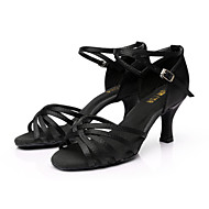 baratos Sapatilhas de Dança-Mulheres Sapatos de Dança Latina / Dança de Salão / Sapatos de Salsa Pele PU / Cetim Sandália Presilha Salto Personalizado Personalizável Sapatos de Dança Prateado / Marrom / Dourado